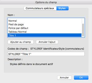 Fenêtre Options du champs sur Word 2016 Mac