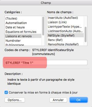 Fenêtre Champs avec options sur Word 2016 Mac