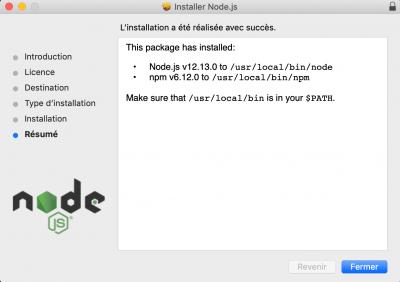 Vérification à la fin de l'installation de Node.js