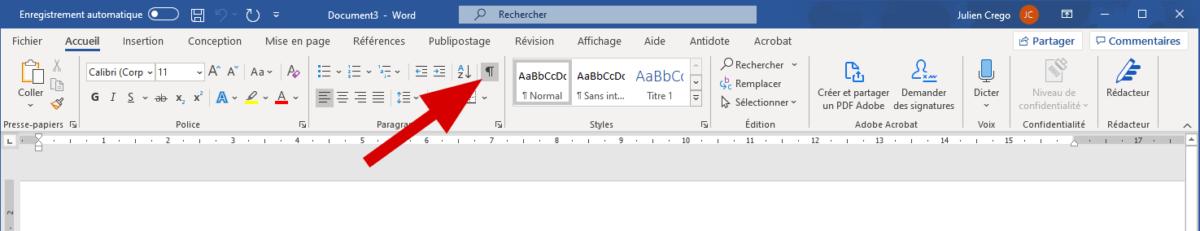 Emplacement du bouton pour afficher les caractères non-imprimables