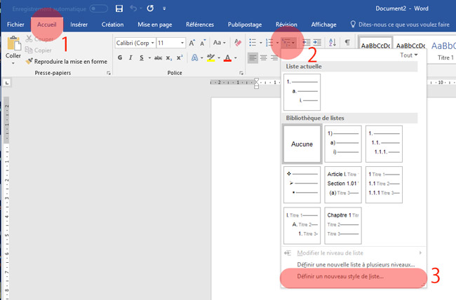 Interface de Word avec le menu liste de visible