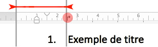 Aperçu de la option Ajouter un taquet de tabulation