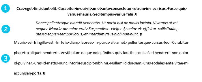 3 exemples de styles de paragraphes
