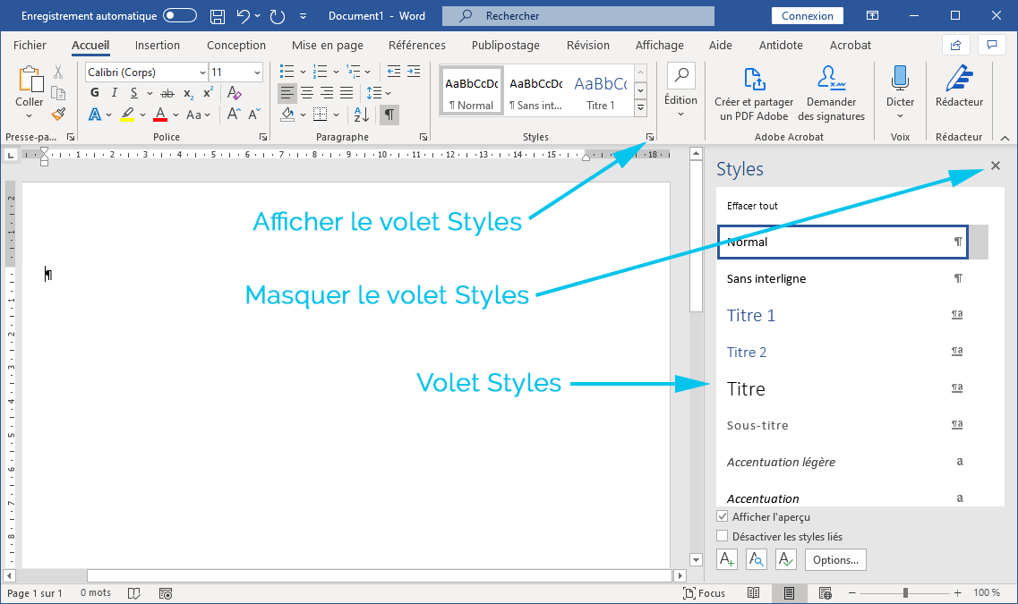 Afficher le volet Styles