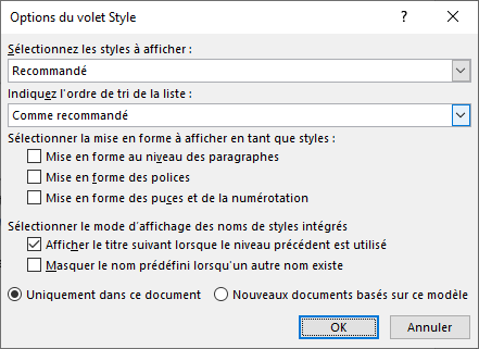 Options du volet Styles sur Word