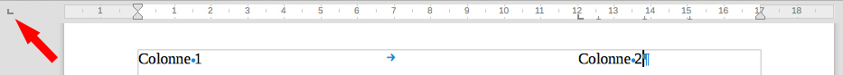 Choix du taquet sur LibreOffice