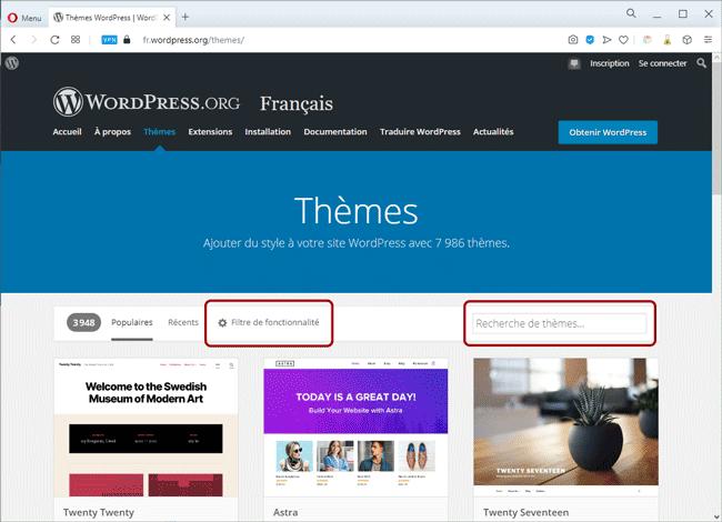 Filtrage et recherche dans les thèmes de WordPress