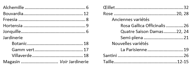 Exemple d'index lexical
