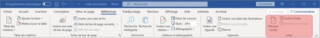 Rubrique index de Word