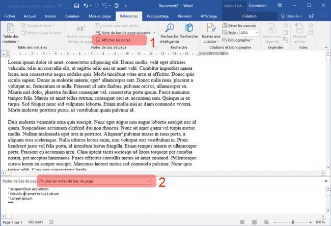 Ruban Références afficher les notes Word 2016 Windows