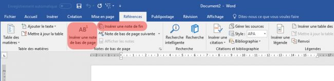 Ruban référence Word 2016 Windows