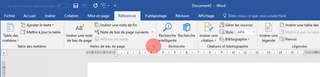 Onglet Référence, Options des notes Word 2016 Windows