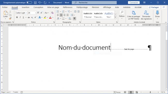 Visualisation des sauts de page sur Word