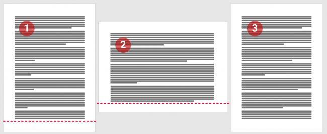 Sauts de section page suivante pour modifier l'orientation de la page