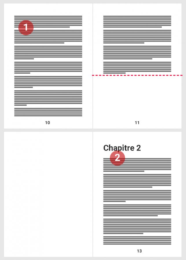 Exemple d'utilisation d'un saut de section page impaire