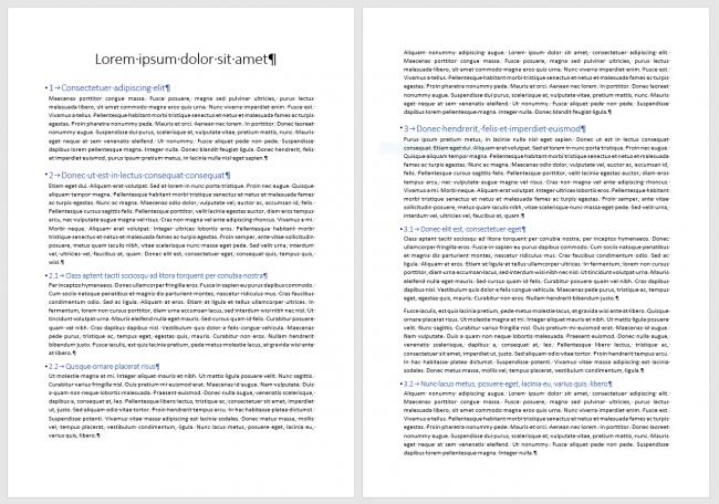 Document hiérarchisé avec les styles Titre 1, Titre 2 et Titre 3