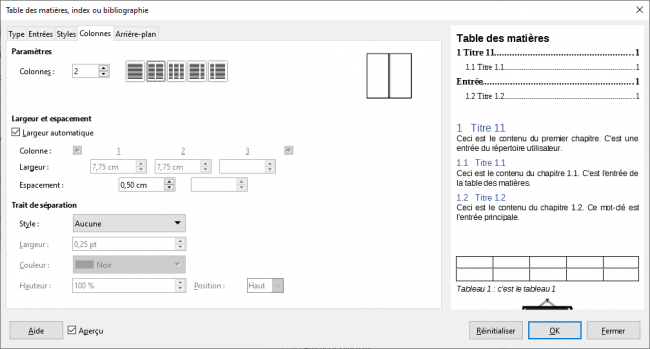 Fenêtre Table des matières, index ou bibliographie, onglet Colonnes