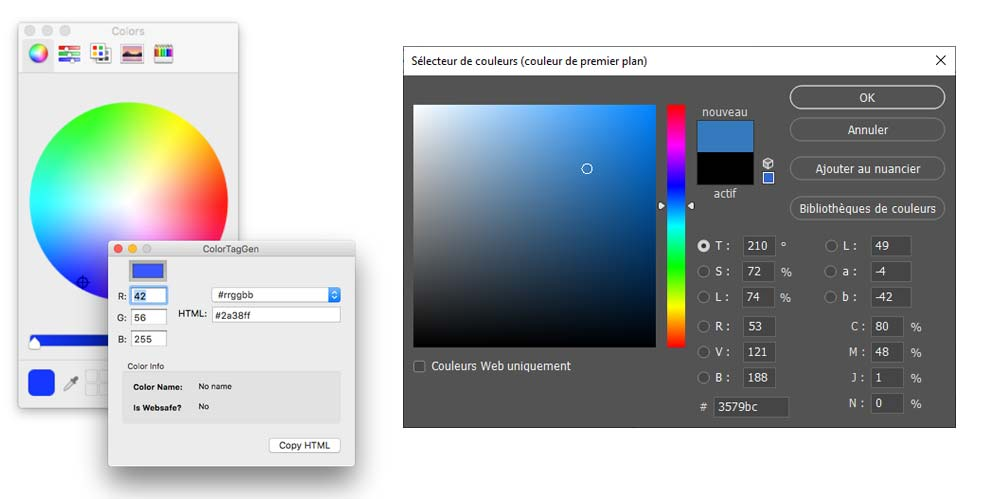 Exemples de colorpicker