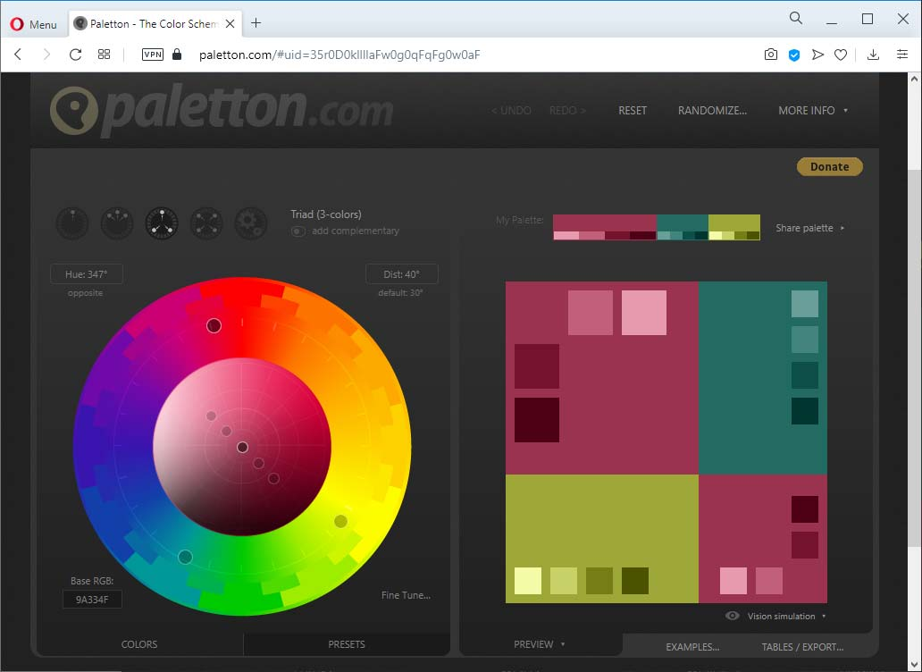 Paletton.com: générateur de palette