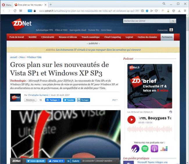 Un article sur les nouveautés de Windows