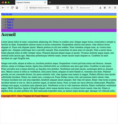 Mise en valeurs des différents blocs avec une couleur