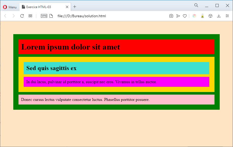 Aperçu de la solution avec des couleurs