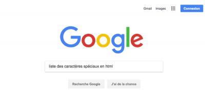 """Recherche Google """"Liste des caractères spéciaux en html"""""""