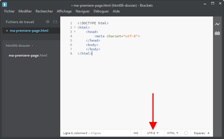 Indication de l'encodage d'une page html sur Brackets