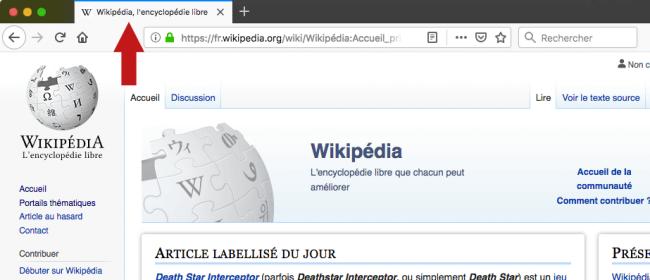 Emplacement du titre d'une page HTML