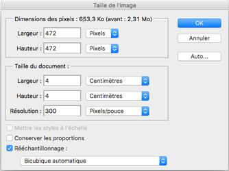 Fenêtre taille de l'image de Photoshop CS6