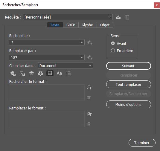 Fenêtre Rechercher/Remplacer de InDesign
