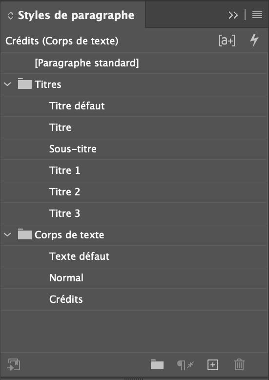 Styles de paragraphe du document