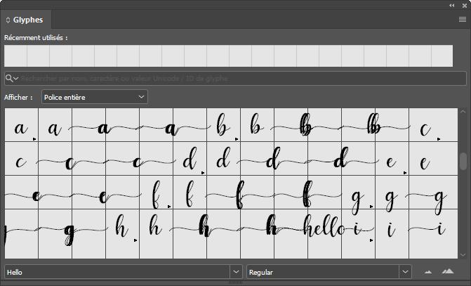 Panneau glyphes