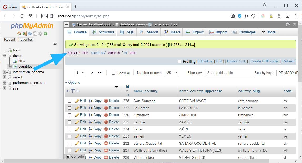 Identification de la requête SQL