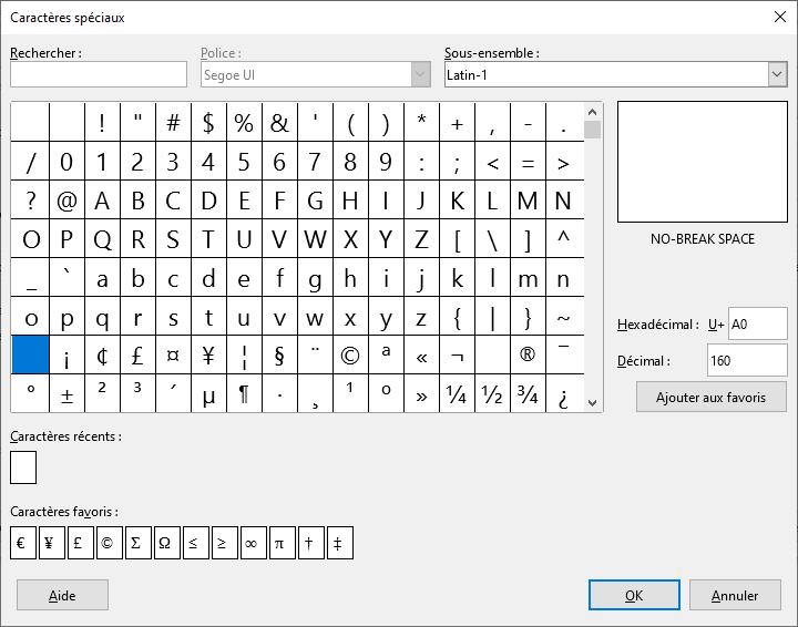 Fenêtre caractères spéciaux avec l'espace insécable sur LibreOffice
