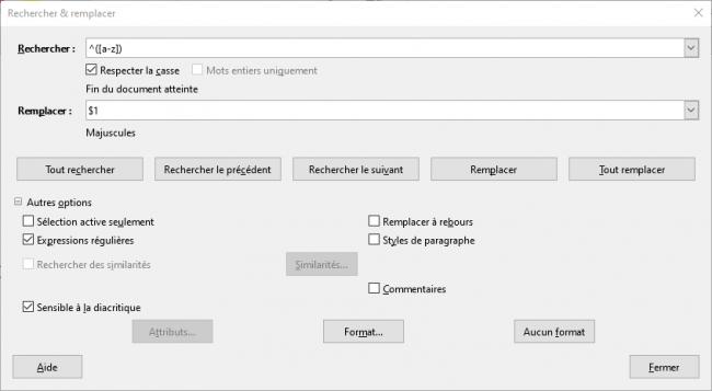 Solution LibreOffice pour les prénoms et les majuscules