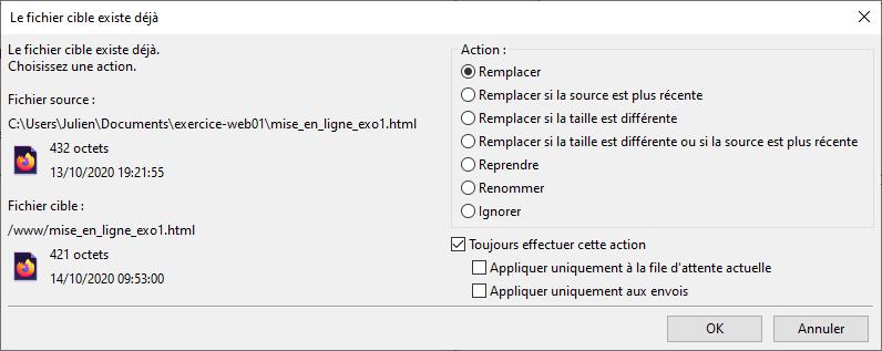 Option remplacer lors de la mise ne ligne d'un fichier