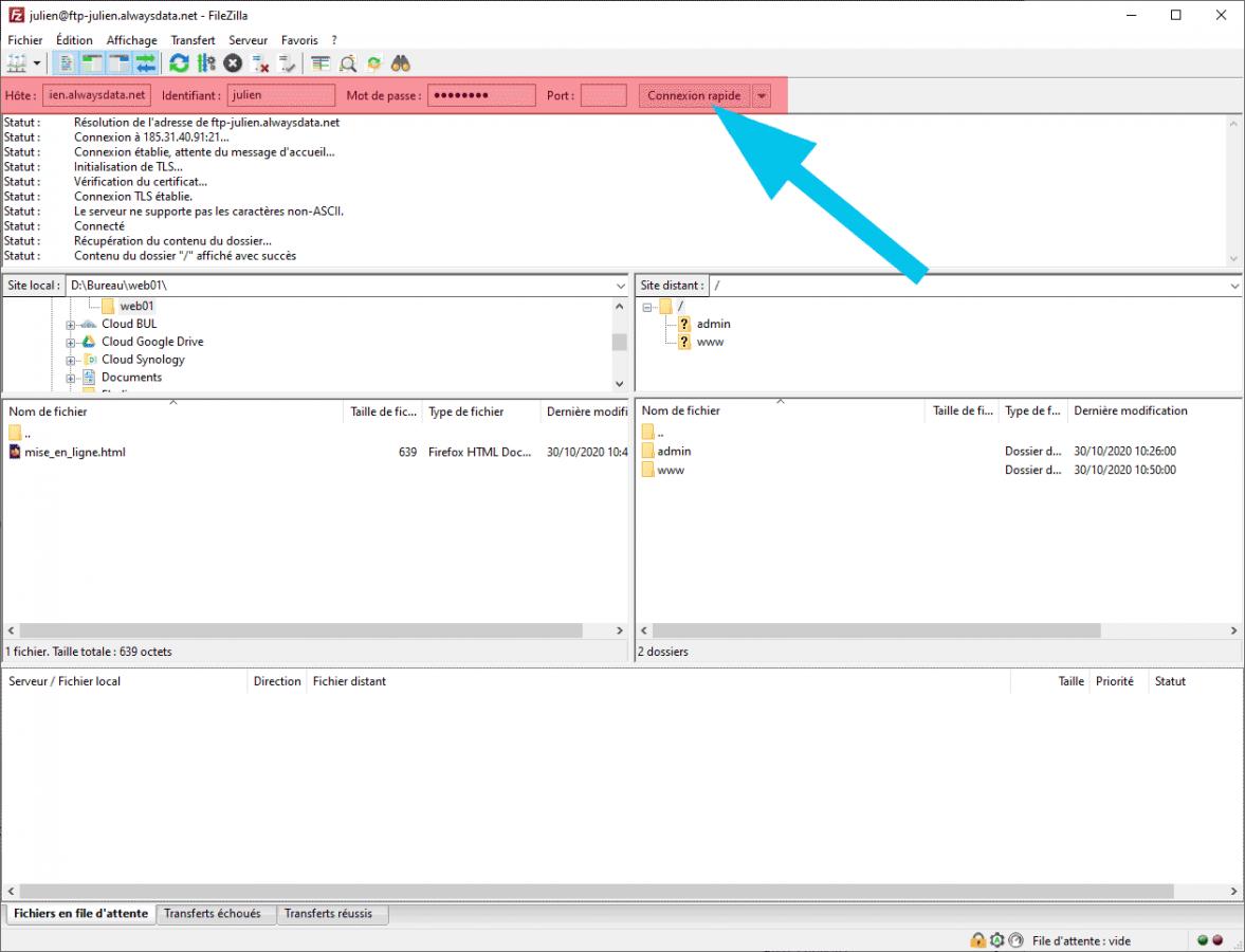 Connexion au serveur FTP avec Filezilla