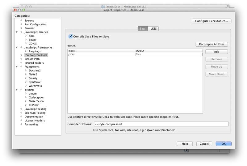 Fenêtre de configuration des préprocesseurs CSS
