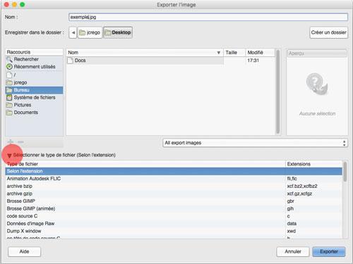 Fenêtre exporter l'image de GIMP