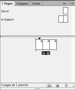 Panneau Pages : Fenêtres / Pages de Indesign CS6 avec 3 pages présentées en volet